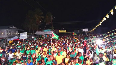 The APNU+AFC rally at Whim yesterday.