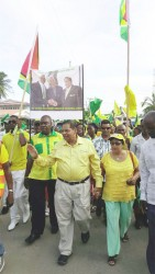 APNU+AFC rally at Whim APNU+AFC Prime Ministerial candidate Moses Nagamootoo (centre) and his wife Sita in a march at Whim for the alliance's rally yesterday afternoon.