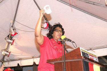 With the cup: Elisabeth Harper holds up the PPP's symbol