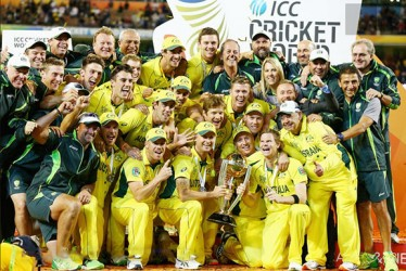 The victorious Australia team basks in the limelight of their fifth World Cup title triumph.  (Photo courtesy of ICC World Cup site)