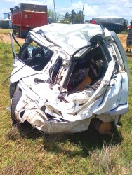 The mangled vehicle after yesterday's accident which took three lives. (Photo by David Papannah)