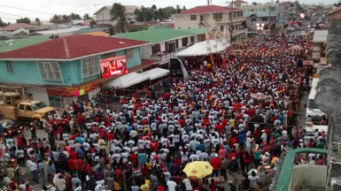 The crowd at the PPP rally at the Kitty Market Square this afternoon. (Arian Browne photo)