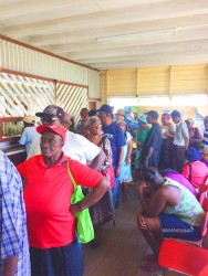 The Bourda Post Office packed with pensioners after the robbery.