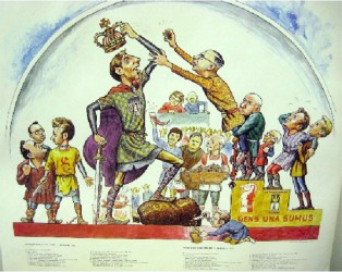 Cartoon depicting a crisp and towering Bobby Fischer snatching the chess crown from a Soviet official and placing it on his head following the declaration of a new ancient brain game champion. The symbolism of the cartoon from 1972 exemplified the West's supremacy in chess, breaking the long tradition of the Soviets as accepted holders of the world chess championship title. Spassky is standing in a dwarf-like fashion immediately behind Fischer, who is portrayed with his enormous bag of cash, a sword and his cowboy pistol.
