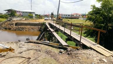 A pedestrian walkway was set up on Thursday to accommodate residents of Eastville after the community's main bridge collapsed on Wednesday.