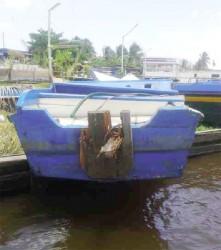 The damaged boat