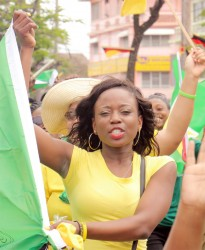 Singer Lisa Punch has endorsed APNU+AFC and marched with them yesterday to City Hall.