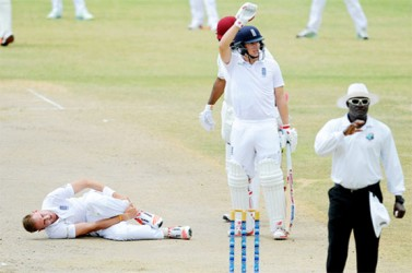 Stuart Broad grabs his ankle on the first day of the two-day, tour match between St. Kitts Invitational XI and English XI yesterday at Warner Park in St. Kitts.  Photo by WICB Media/Randy Brooks of Brooks Latouche Photography