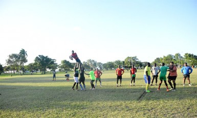 The national rugby outfit practicing yesterday at the National Park ahead of their Southern Zone final of the NACRA 15s championships on Saturday versus Trinidad and Tobago.