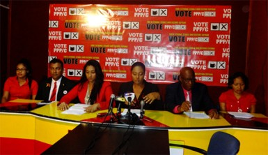 From left are Sarah Browne, Peter Ramsaroop, Roshini Boodhoo, Olive Gopaul, Sixtus Edwards and Africo Selman.