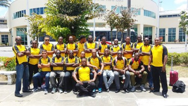 The national 15s rugby squad pose for a photo shortly after arriving at the Piarco International Airport in Trinidad and Tobago.