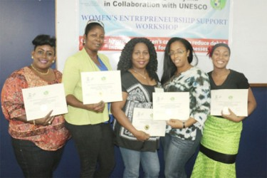 From left are Joan Rodney, Tracy Bailey, Faith De Souza, Abigail Joseph and Tracy Ann Massy with their certificates.