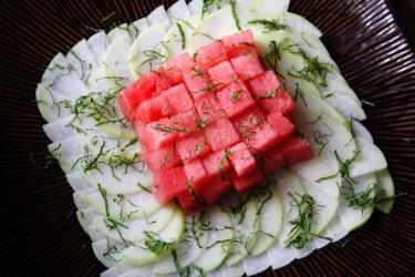 Kohlrabi Watermelon Salad with Mint Photo by Cynthia Nelson