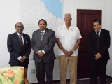 Indian High Commissioner to Guyana, Venkatachalam Mahalingam (left); Prime Minister of Guyana Moses Nagamootoo (second from left), Minister of Agriculture Noel Holder (third from left), and an officer of the Indian High Commission to Guyana. (GINA photo