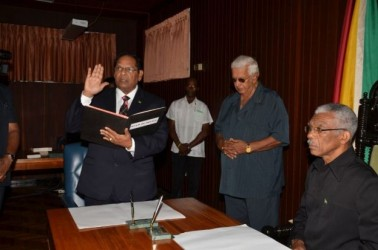 Moses Nagamootoo takes the oath as Prime Minister in the presence of President David Granger
