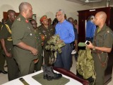 Chief of Staff of the Guyana Defence Force,  Brigadier Mark Phillips (left) and Major Eon Murray (right) giving Commander-in-Chief, President David Granger a tour of the Colonel Ulric Pilgrim Officers' Cadet School's accommodation building at Camp Stephenson, Timehri. (GINA photo)