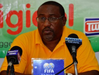 Golden Jaguars head coach Jamal Shabazz making a point to the gathering at the GFF press conference yesterday.