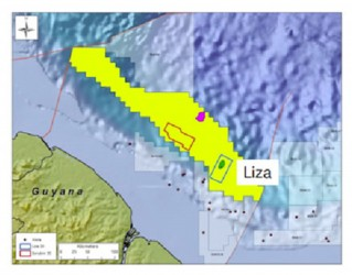 The 'Liza' area where ExxonMobil was drilling in the Stabroek Block, off the Demerara coast.