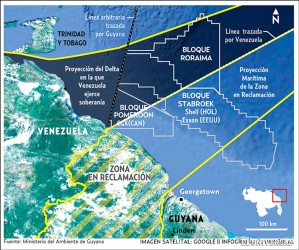 """A map showing the zone being """"reclaimed' by Venezuela, which includes a significant portion of the Stabroek Block, where ExxonMobil announced last month that it had made a significant oil discovery."""