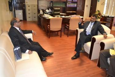 Minister of Public Security Khemraj Ramjattan (right), and Indian High Commissioner to Guyana, Venkatachalam Mahalingam (GINA photo)