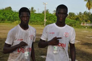 (from left) - Hope goal scorers Demel Joseph and Kevaughn Garnett.