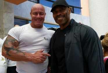 Hugh Ross sharing a light moment with last year's champion, Gary Lister shortly after arriving in Malta yesterday.