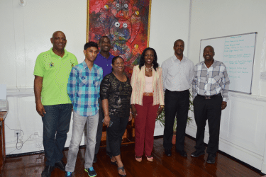 Minister Nicolette Henry, third from right with members of the local CPL franchise OPCO on Thursday during a courtesy call to her Main Street Office.