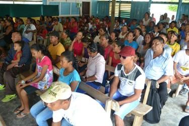 Residents gathered at the Orealla Benab (GINA photo)