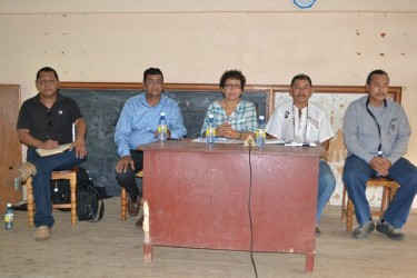 From left are designated legal advisor to the ministers, David James; Region Six Vice Chairman, Bhupaul Jhagroo; Minister of Indigenous People's Affairs, Sydney Allicock; Minister within the Ministry, Valerie Garrido- Lowe and designated Advisor on Youth, Sports and Cultural Development, Mervyn Williams during a meeting at Siparuta. (GINA photo)