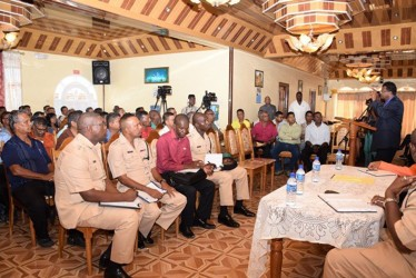 Minister of Public Security Khemraj Ramjattan addressing the Executives of the Upper Corentyne Chamber of Commerce and members of the Upper Corentyne Fisherman's Coop Society Limited at City Inn Hotel at Line Path, Skeldon (GINA photo)