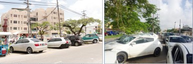 Cars parked diagonally on Camp Street yesterday