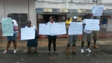 Barticians protesting yesterday against Gordon Bradford