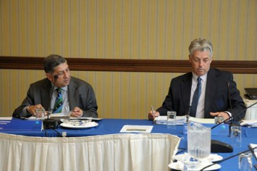N Srinivasan (left) and David Richardson during the ICC Annual Conference 2015 in Barbados. (ICC photo)