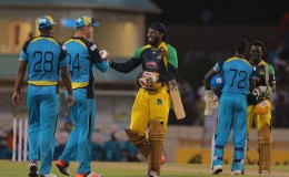 Kevin Pietersen congratulates Chris Gayle for his incredible innings. — at Beausejour Stadium.