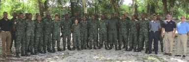 Members of the Guyana Defence Force and the Florida National Guard who were involved in the exchange.
