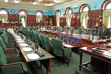 Prime Minister Moses Nagamootoo (right) addressing the second sitting of the 11th   Parliament yesterday.