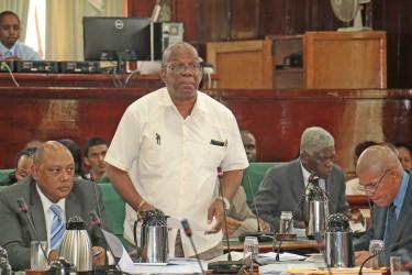 Finance Minister Winston Jordan speaking in Parliament yesterday