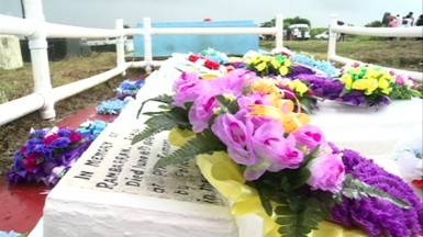 The grave site of the five Enmore Martyrs of Guyana - Lallabagee Kissoon, 30; 19-year-old Pooran; Rambarran; Dookhie and Harry (GINA photo)