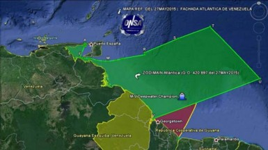 A map created by Venezuela's National Organisation for Maritime Safety purporting to show the increased Venezuelan territory following the issuing of a decree by Venezuela's President Nicholas Maduro claiming sovereignty over Guyana's territorial waters in the Atlantic Ocean off the Essequibo region. It also positions the drill site of the ExxonMobil 'Deepwater Champion' rig within its claim.