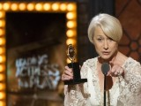British actress Helen Mirren accepts the award for Best Performance By An Actress In A Leading Role In A Play for 'The Audience'. Reuters/Lucas Jackson