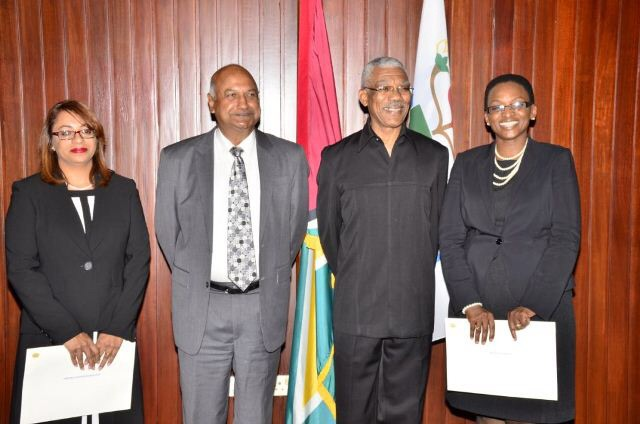 The two Puisne judges, Jo-Ann Barlow (right) and Priya Sewnarine –Beharry (left ) with President David Granger (second from right) and Chancellor of the Judiciary (ag) Carl Singh