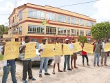 Mini-bus operators today protested outside of the Ministry of Public Security, Brickdam over what they said was constant police harassment.