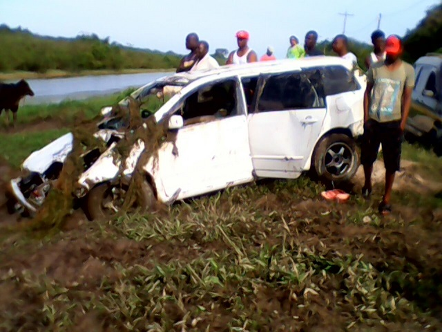 The car after it had been pulled from the trench