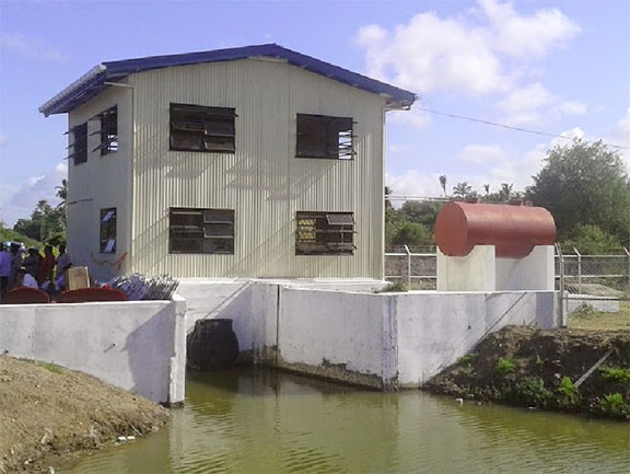 The housing for one of Surendra's pumps at Rose Hall