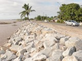 Boulders have been placed to help guard against the encroaching river at Friendship, East Bank Demerara.