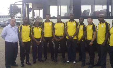 Some members of the national 7s rugby squad along with president of the GRFU, Peter Green pose for a photo opportunity prior to departure to Toronto, Canada. The outfit will lookto iron out some of the wrinkles they encountered during a below par showing at last month'sNACRA Championships and Olympic Qualifiers in Cary, North Carolina.