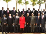 Caricom heads: President David Granger is fourth from right in the front row.