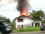 The house ablaze