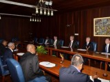The Guyanese team, led by President David Granger, meeting with ExxonMobil's top officials on Monday. (Government Information Agency photo)