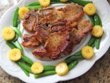 Pan-seared Pork Chop with Plantains & Sugar-snap Peas Photo by Cynthia Nelson